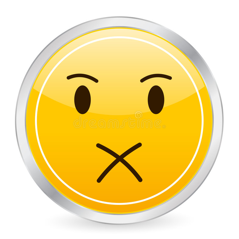 Shut Up Face Yellow Circle Ico Royalty Free Stock Photos