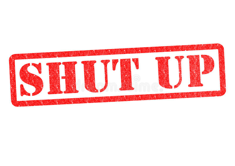 SHUT UP. Rubber stamp over a white background stock image