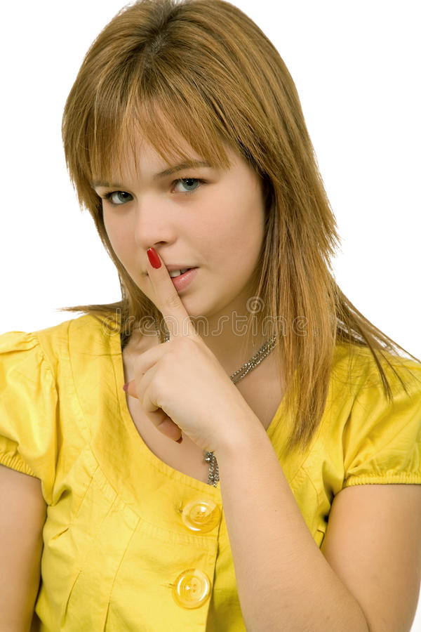 Shut up. Young blonde woman going shut up, isolated stock photo