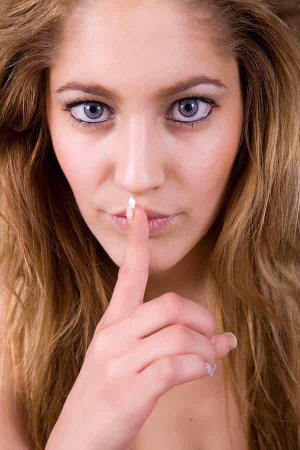Shut up. An young woman portrait, going shut up royalty free stock photos