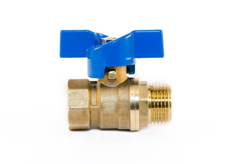 Shutoff valves. Bronze crane, ball valve isolated on the white royalty free stock images