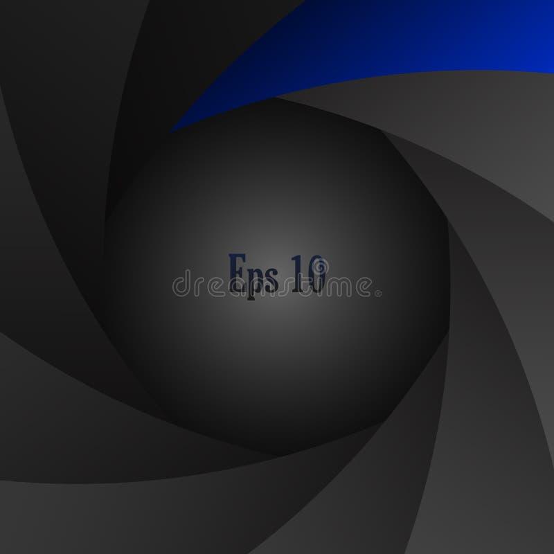 Shutter aperture. Abstract dark gray shutter aperture background vector illustration