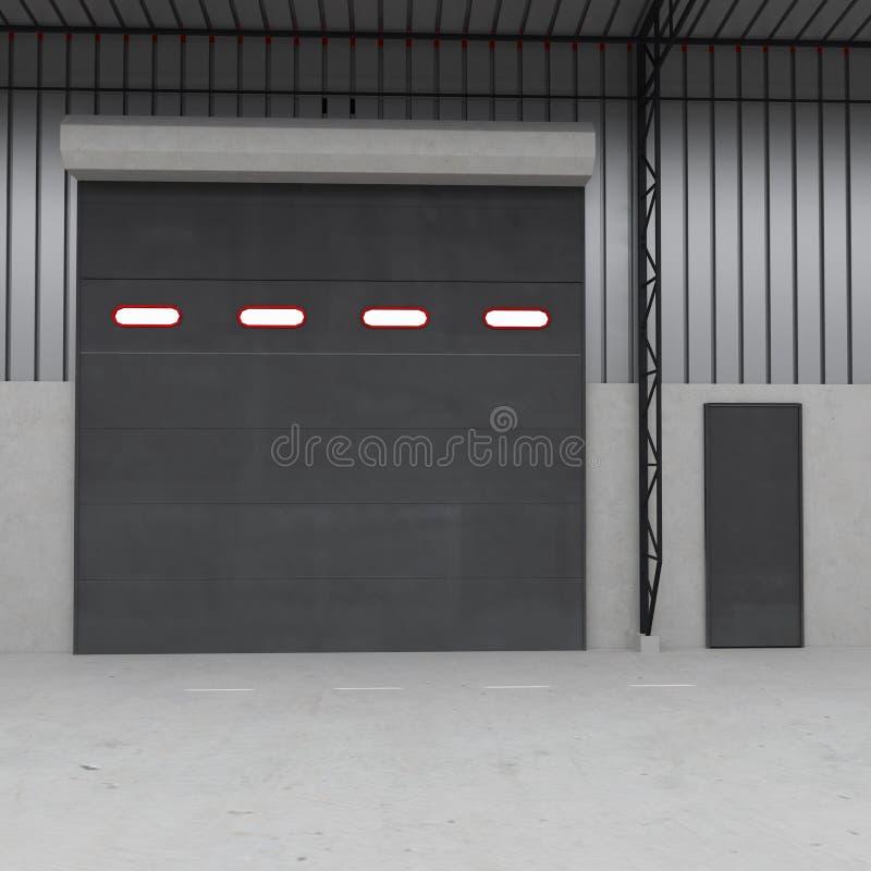 Shutter door or roller door and concrete floor inside factory building. 3D illustration vector illustration