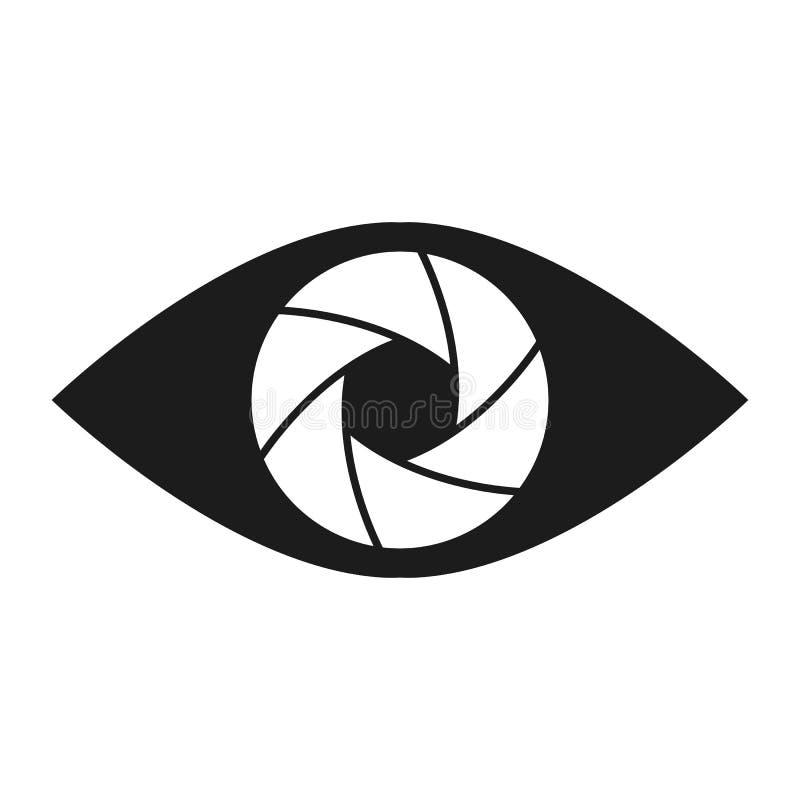 Shutter eye conceptual flat abstract icon vector illustration