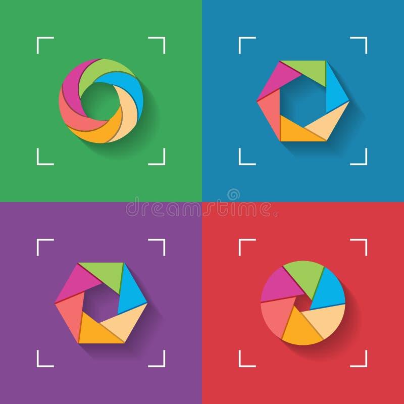 Shutter flat icons vector illustration