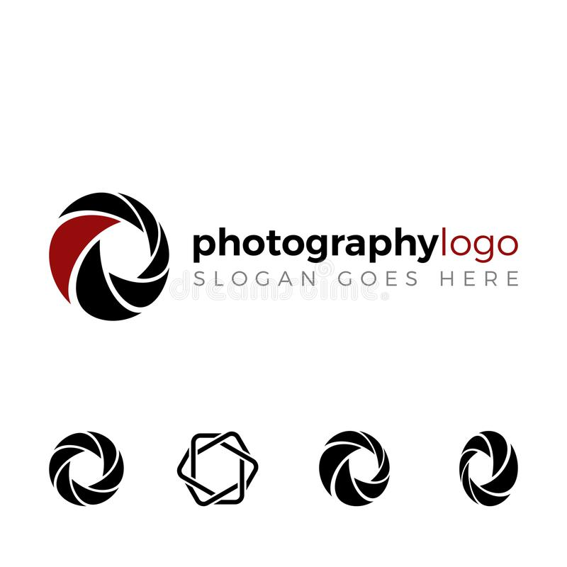 Shutter logo set for photography company stock illustration