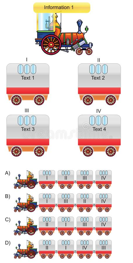 Train and wagon questions vector illustration