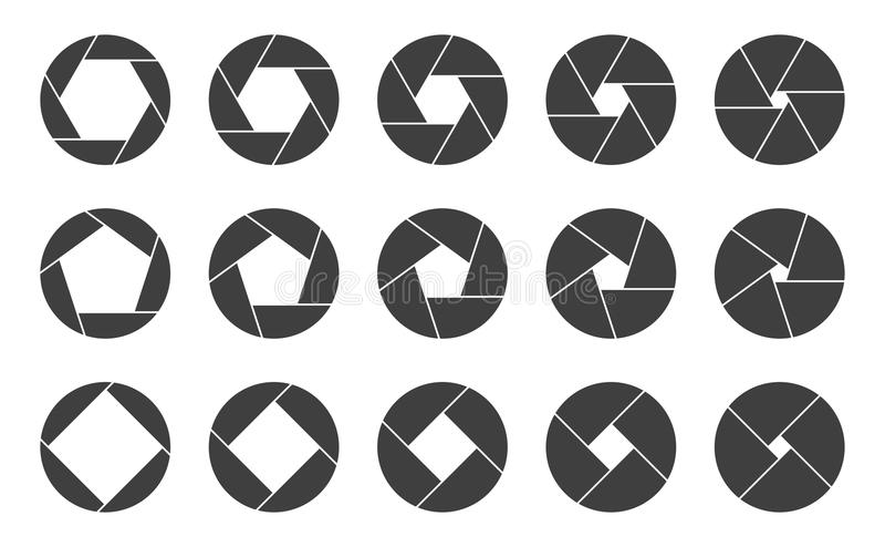 Shutters camera apertures logo icons. Shutter apertures icons vector graphic artwork design element stock illustration