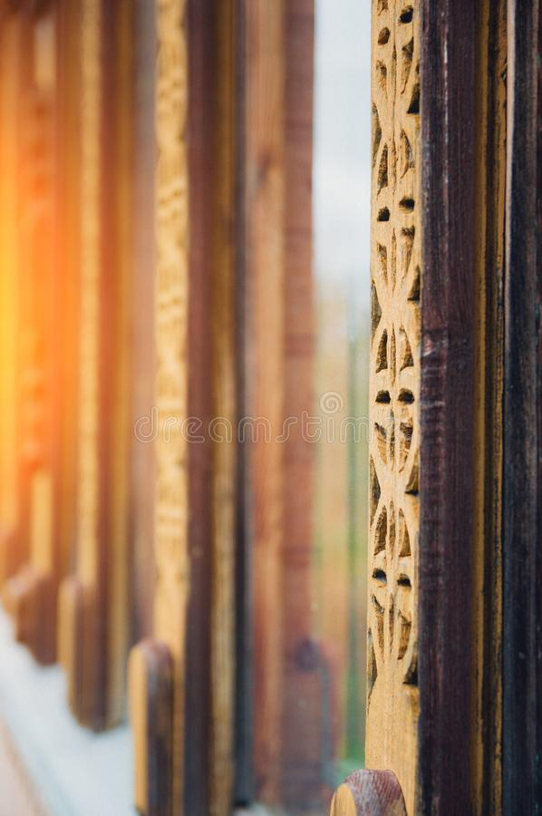 Shutters of house. Close-up abstract image of the shutters of an old wooden house stock photos