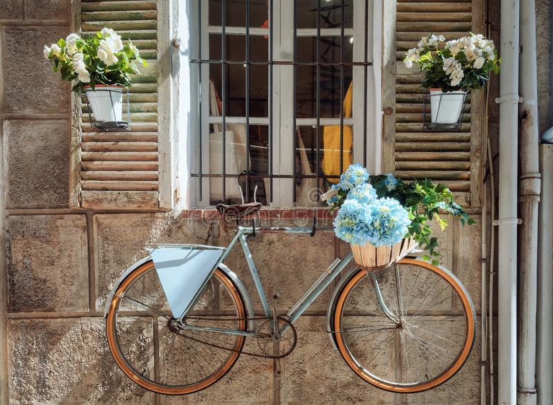 Shutters of a house in the town Antibes nicely decorated with colorful flower pots and the wall with a bicycle royalty free stock image