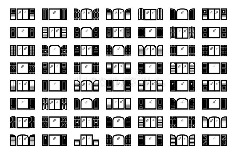 Window shutters. Decorative exterior shades. Flat icon collection. Shutters. Plantation, panel, tier on tier, bahama & louvered window coverings. Decorative vector illustration