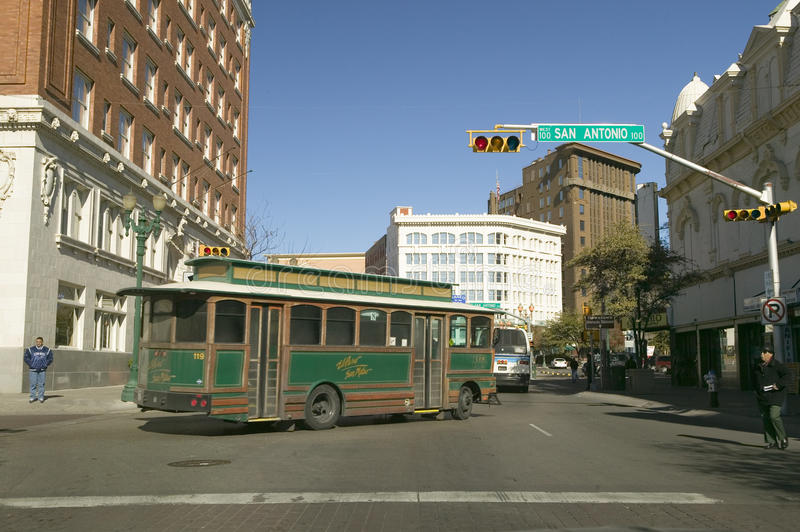 Shuttle bus in downtown El Paso Texas on San Antonio Street, in the historic Plaza district royalty free stock photos