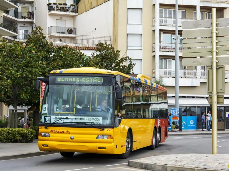The shuttle bus of the transport company PUJOL Blanes, Spain royalty free stock photos
