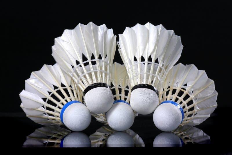 Shuttle en badminton stock foto's