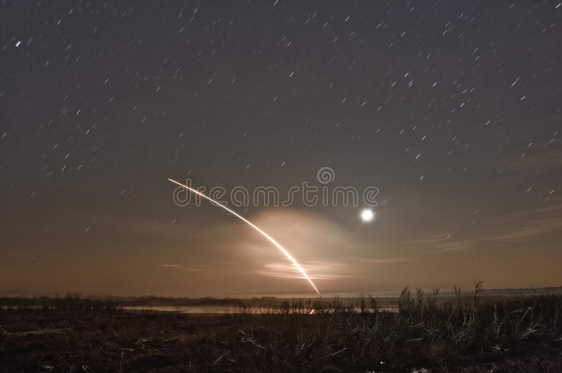 Shuttle Launch. A long exposure night shot of a space shuttle launch royalty free stock photos