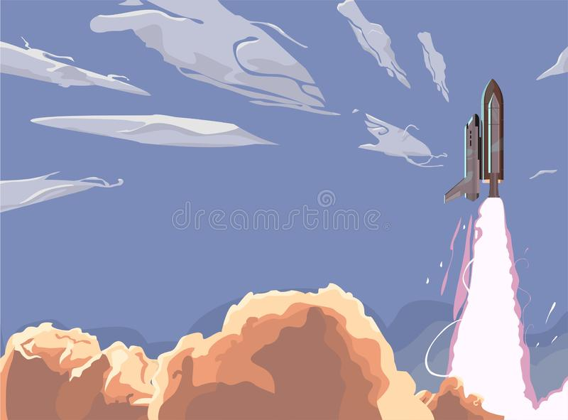 Shuttle Launch Blue Sky Space Ship Taking Off. launch with white smoke clouds. royalty free illustration