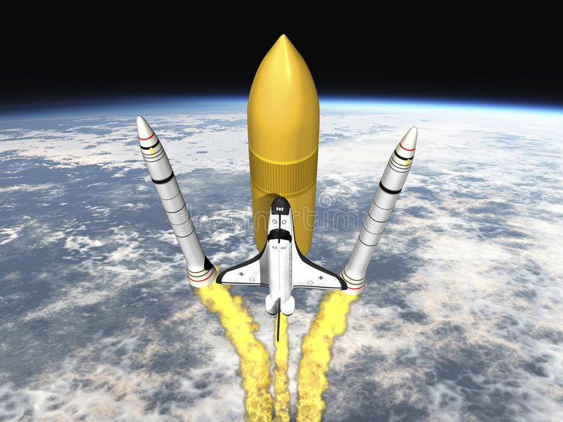Shuttle launching from earth and separating royalty free illustration
