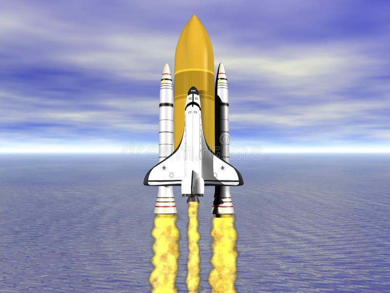 Shuttle leaving earth 3d render stock illustration