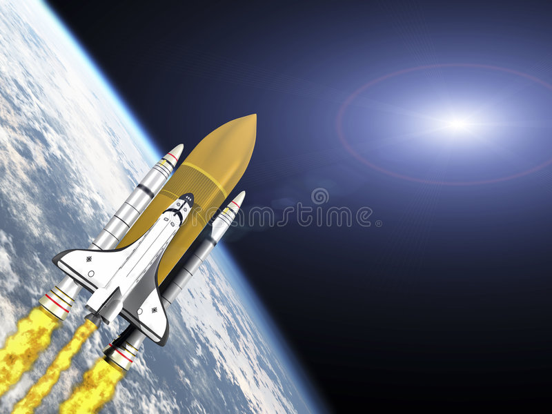 Shuttle leaving earth with galaxy flare stock illustration