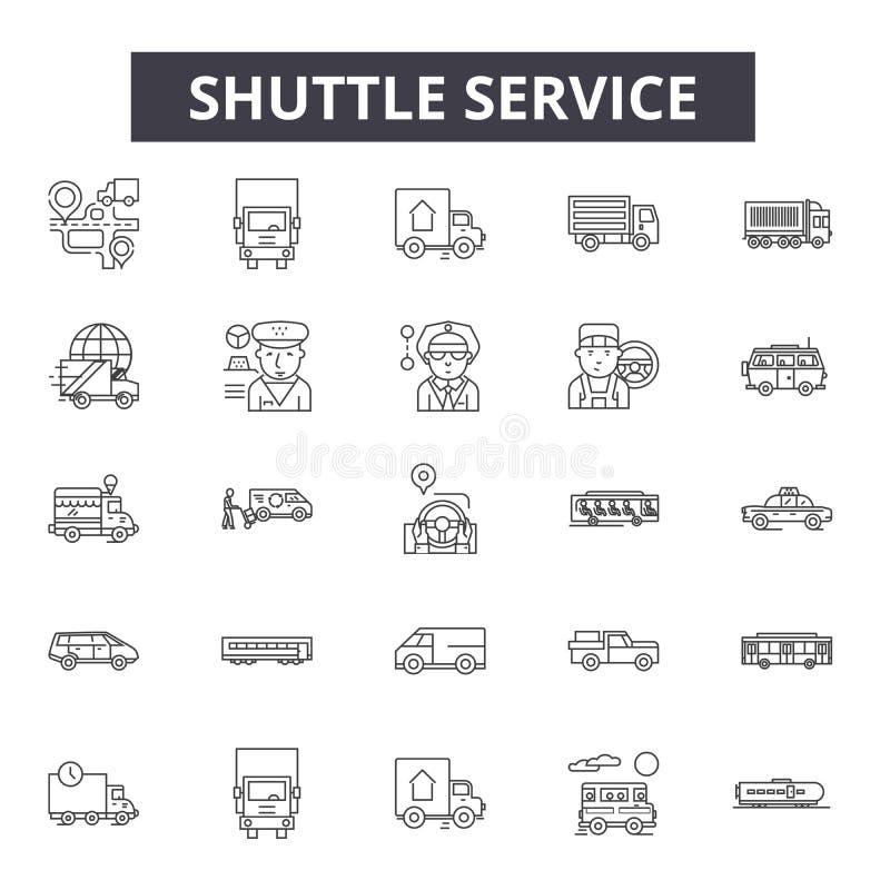 Shuttle service line icons, signs, vector set, linear concept, outline illustration stock illustration