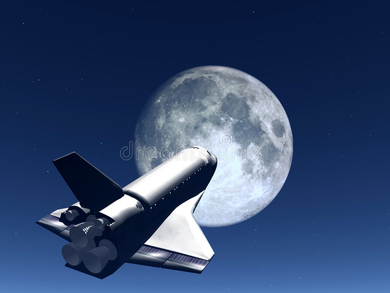 Shuttle In The Sky 57. A conceptual image of spacecraft flying towards the moon royalty free illustration