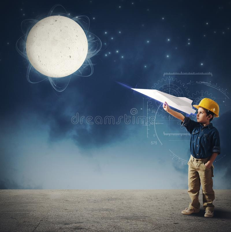 Shuttle to the moon. Child imagines launch a shuttle to moon stock photos