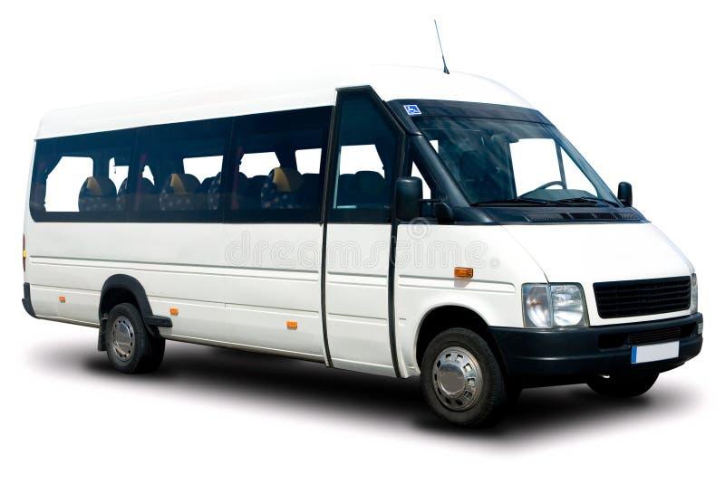 Shuttle Van. White Airport Shuttle Van Isolated stock image
