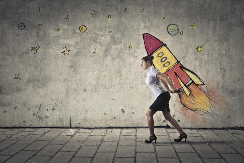 Shuttle. Young businessman taking off on a shuttle stock images