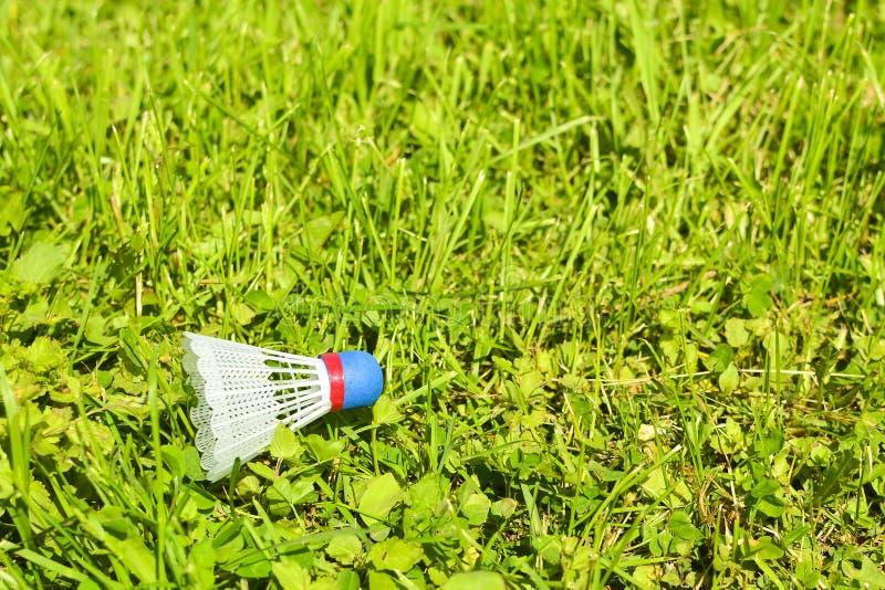 Shuttlecock на траве В парке в солнечном дне стоковые изображения