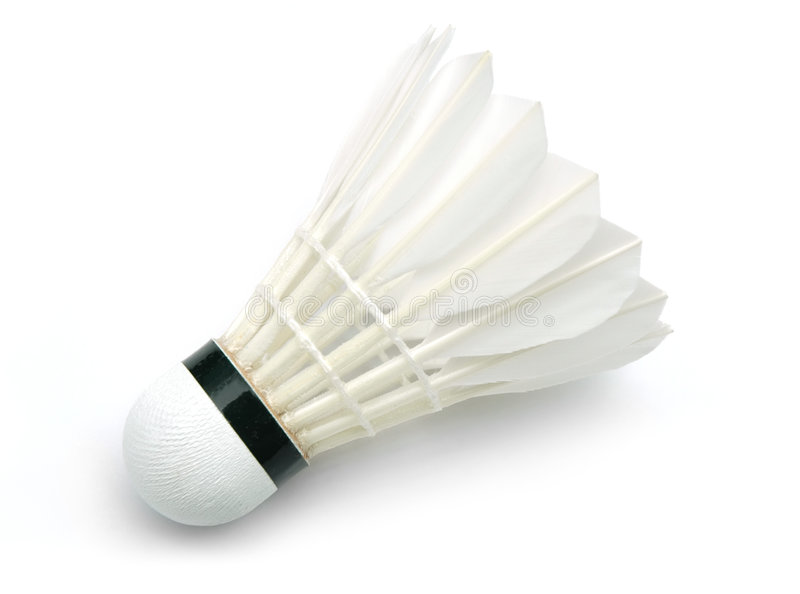 Shuttlecock. For badminton game on white background royalty free stock image