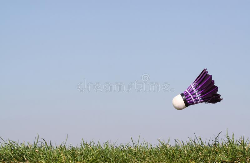 Shuttlecock in action. In grass against a bright blue sky stock photo