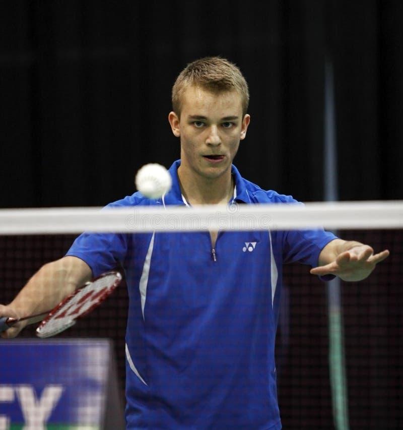 Shuttlecock do saque de Canadá do Badminton imagem de stock