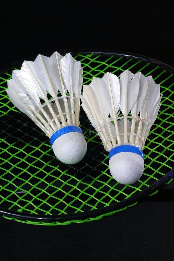 Shuttlecock und Badminton stockbild