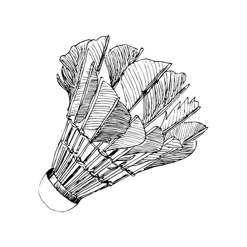 Shuttlecock z piórka badminton ręka rysującym nakreśleniem w czarnych liniach ilustracji