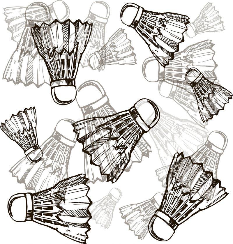 Shuttlecocks в стиле эскиза Shuttlecocks бадминтона выравнивают значок, тонкий контур на белой предпосылке стоковые изображения rf