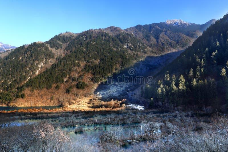 Shuzhenghai lake in jiuzhaigou winter royalty free stock images