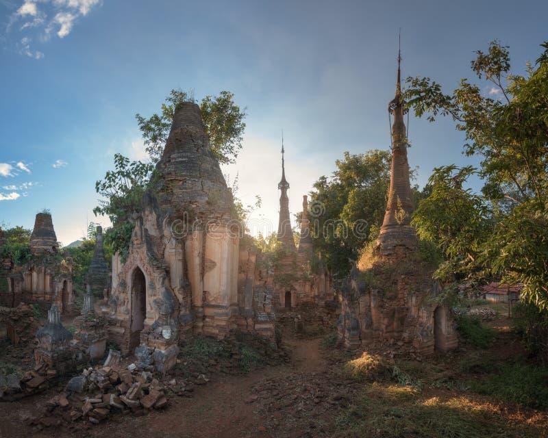 Shwe Inn Dein Pagodas in the Evening, Inle Lake, Myanmar. Shwe Inn  Dein Pagodas in the Evening, Inle Lake, Myanmar stock photos