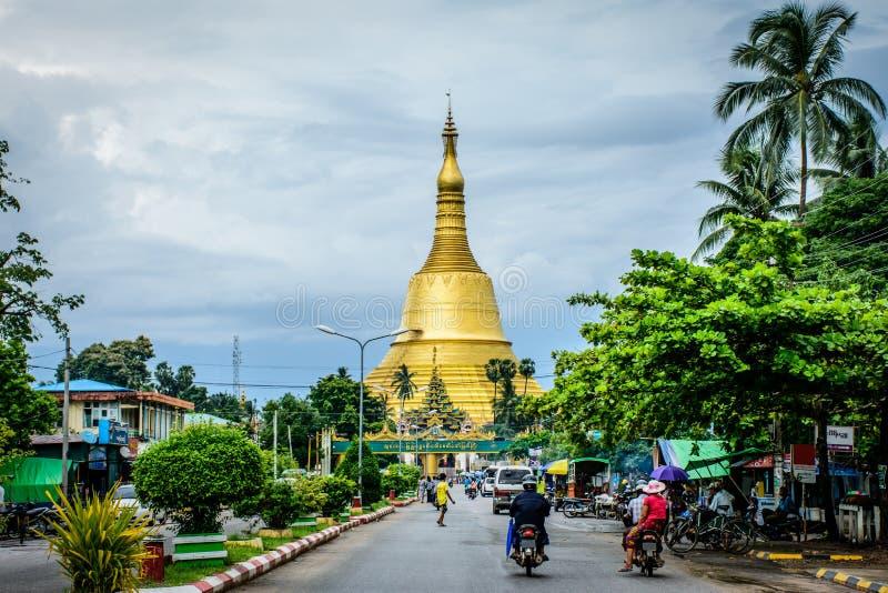Shwe Maw Daw Pagoda. It is located in Bago city, Myanmar, June-2017 stock image