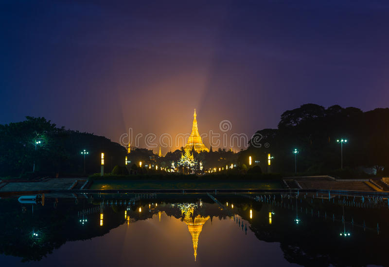 Shwedagon golden pagoda on night view stock photos
