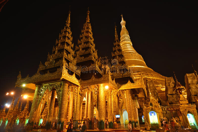 Shwedagon Pagodaï ¼ ŒYangon Myanmar obraz stock