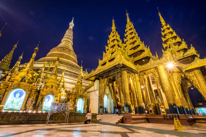 Shwedagon Pagoda at dusk (Yangon, Myanmar) royalty free stock image