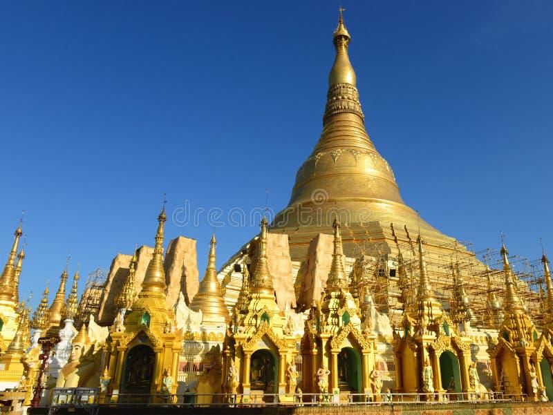 Shwedagon Pagoda in Yangon, Myanmar. Shwedagon Pagoda, the famous glided golden Buddhist stupa in Yangon, Myanmar Burma, in Southeast Asia.  It is an iconic royalty free stock photos