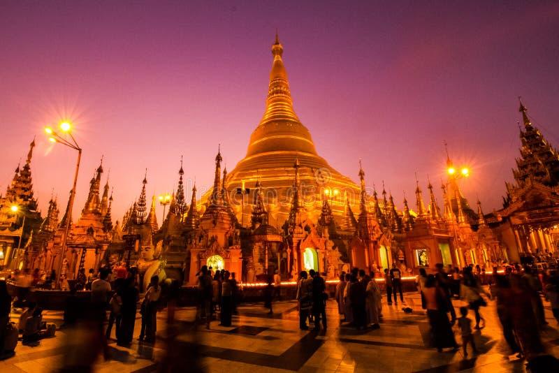 Shwedagon Pagoda at night stock photos
