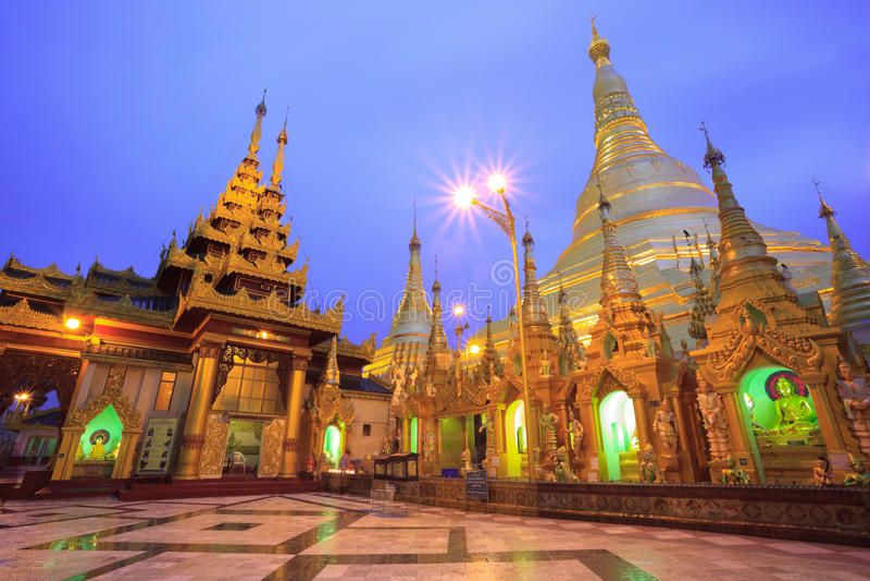 Shwedagon pagoda at sunrise,Bagan, Myanmar royalty free stock images