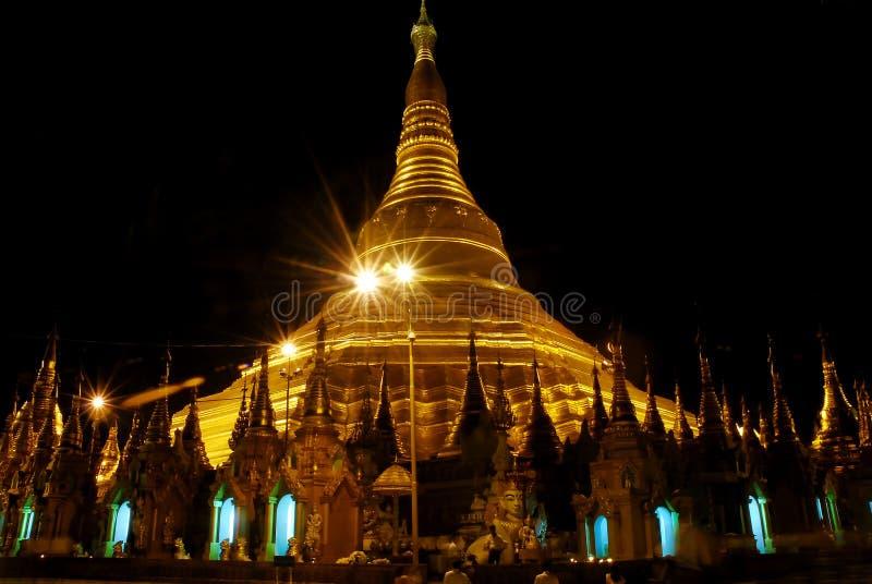 Shwedagon temple at night stock photography