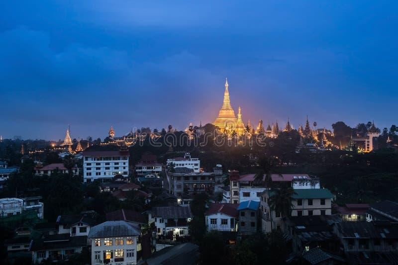 Shwedagon in Yangon-stad royalty-vrije stock foto
