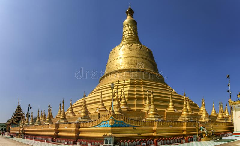 The Shwemawdaw Pagoda under the hard midday sun, Bago, Bago State, Myanmar royalty free stock images