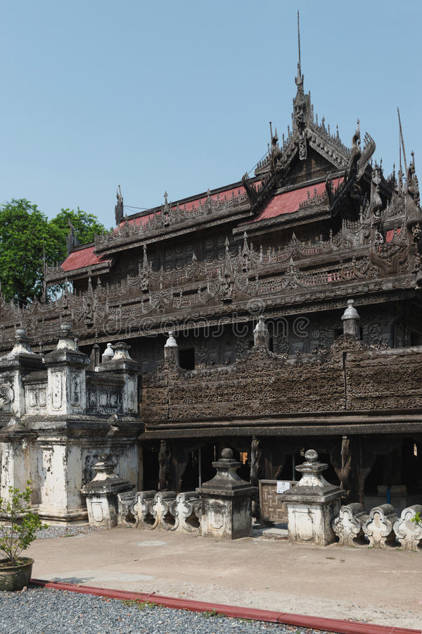 Shwenandaw monastery, Mandalay, Myanmar. Shwenandaw Monastery is the only original building from Mandalay Palace that survived the bomb during World War II in royalty free stock photo