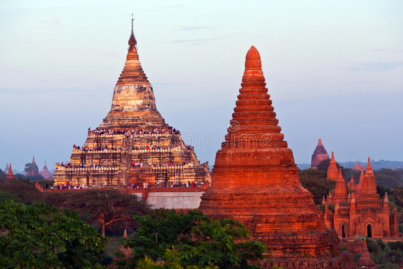 Shwesandaw-Pagode in Bagan, Myanmar stockbilder