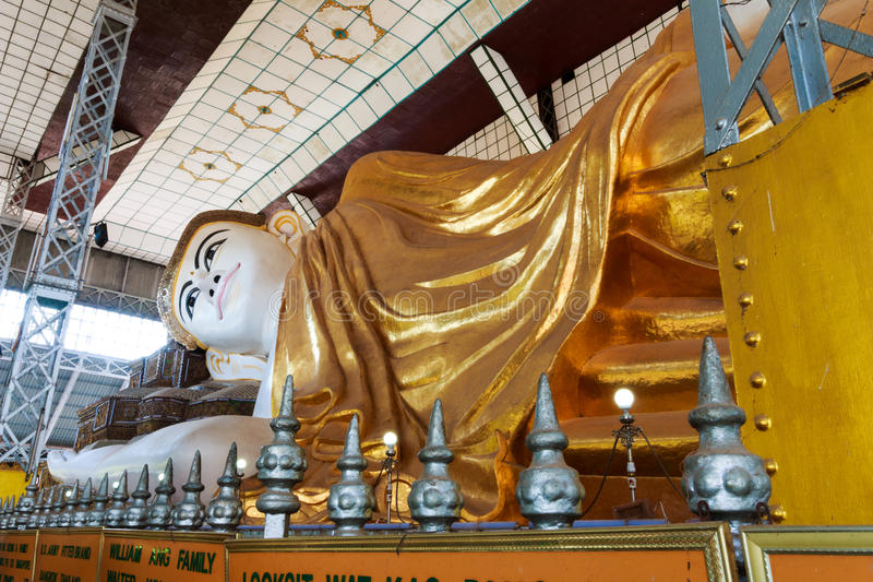 Shwethalyaung buddha the giant reclining in Myanmar. royalty free stock image